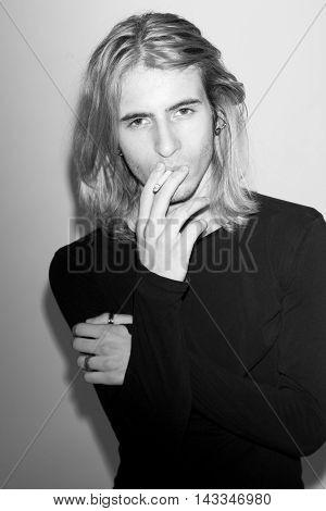 young man male fashion model snapshots studio background