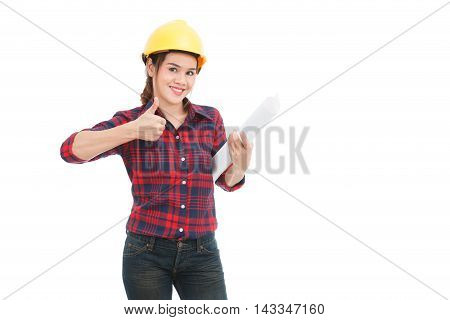 Asian Engineer Woman Thumbs Up With Blueprints Isolated On White Background