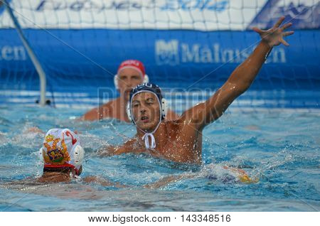 Budapest, Hungary - Jul 17, 2014. Romania defending against Montenegro. The Waterpolo European Championship was held in Alfred Hajos Swimming Centre in 2014.