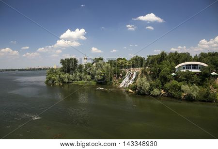 View of the Monastic Island in Dnepropetrovsk city park