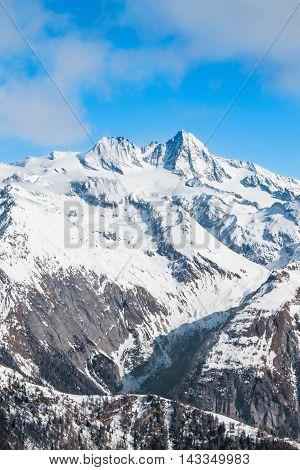View at Grossglockner peak from ski resort Kals-Matrei - beautiful nature and winter sports in Austria.