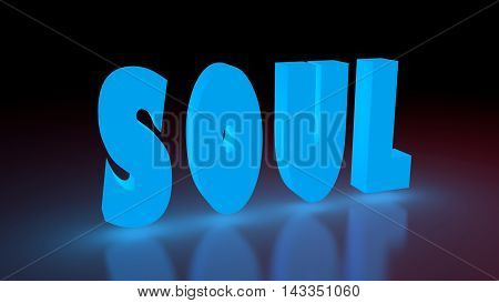 Soul music genre neon shine word on reflected surface. 3D rendering