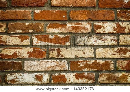 Very old brick wall brick background is destroyed