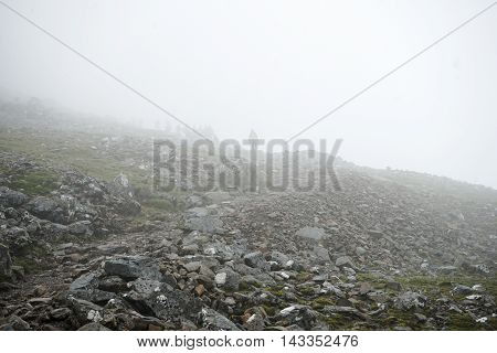 3 quarter way up Ben Nevis and visibility is poor