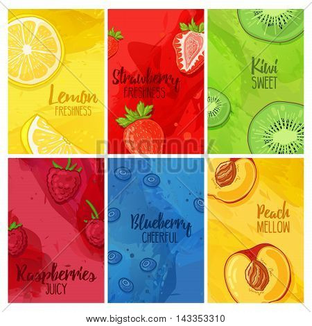 Set template design banners, cards, flyers with fruits and berries. Collection brochure with raspberries, strawberries, blueberries and lemon, kiwi, peach. Brochures with a watercolor texture.