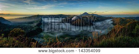 Mount Bromo volcano during sunrise East Java Indonesia.