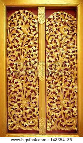 the beautiful gold of pattern Lai Kanok (Thai design) in wood