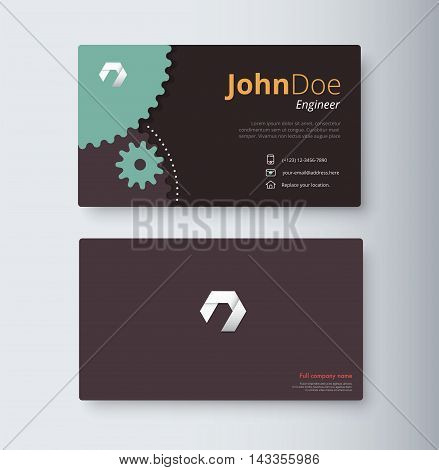 Engineer Business Card Template. Gear Business Card. Vector Stock.