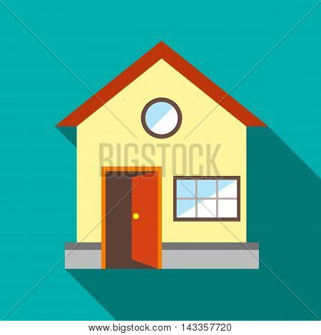 House with open door icon in flat style with long shadow