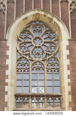 Window of a gothic cathedral with segments by stone mullions and tracery in Lviv