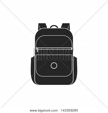 Backpack icon isolated on white background. School bag icon handle strap sack in flat style. Black schoolbag supplies educational