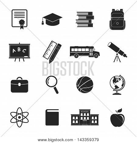 School icons isolated on white background. Education icons collection. Back to school. College training icons symbols in flat style