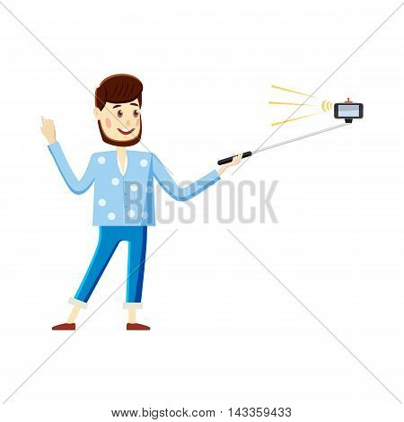 Man making selfie with a stick icon in cartoon style on a white background