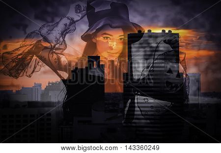 double exposure and de-focused portrait of Asian woman on black dress and holding plastic pumpkin doll in midnight townscape background Halloween concept