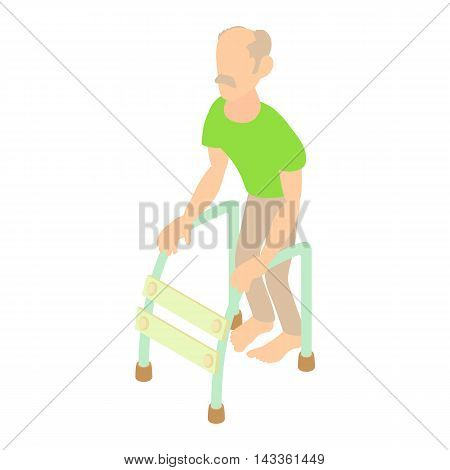 Old man with walking frame icon in cartoon style on a white background