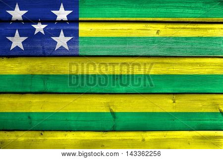 Flag Of Goias State, Brazil, Painted On Old Wood Plank Background