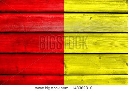 Flag Of Grenoble, France, Painted On Old Wood Plank Background