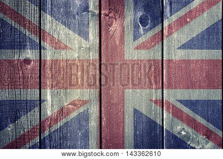Vintage UK flag on wood - flag concept