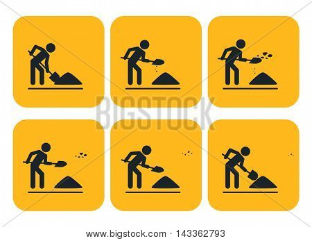 Digging man. Vector illustration of animation throwing the ground ahead