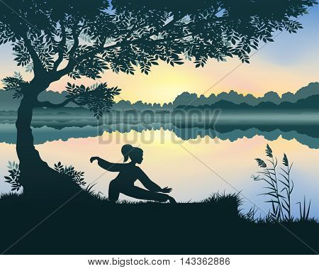 Vector illustration of yang woman performs Snake Creeps Down Form of Tai Chi near the lake