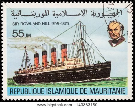 MOSCOW RUSSIA - AUGUST 18 2016: A stamp printed in Mauritania shows old steamship series