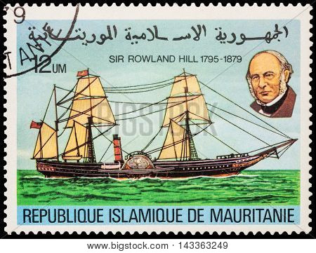 MOSCOW RUSSIA - AUGUST 18 2016: A stamp printed in Mauritania shows old paddle-boat series