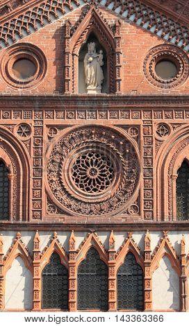 Facade of the romanic style church of Santa Maria in Strada. Monza, Italy