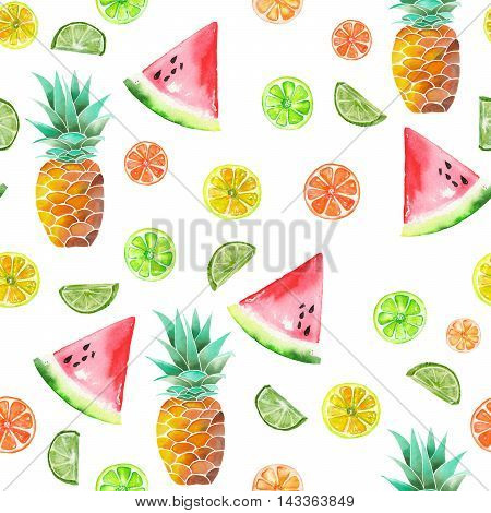 A pattern with the colored watercolor candied fruits, pineapple, lime and watermelon painted on a white background