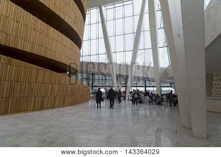 OSLO, NORWAY - JULY 1, 2016: This is the interior of the Opera House foyer.