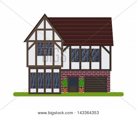 Tudor style or English house, Vector illustration of a tourist house for rent, sale, booking and living, isolated on white background.