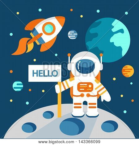 Astronaut on the moon in flat style vector illustration outer space
