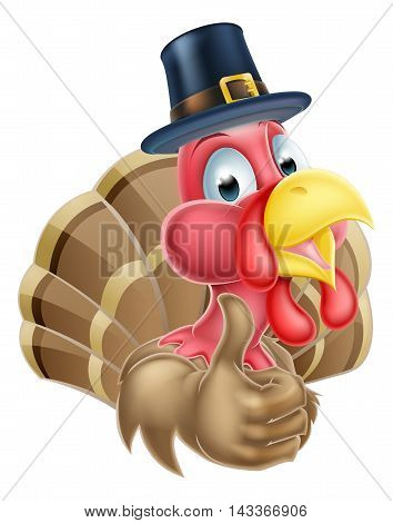 Cartoon Turkey In Pilgrim Hat