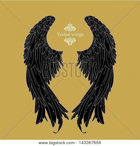 Hand  drawn  angel  wings .Tattoo wings .