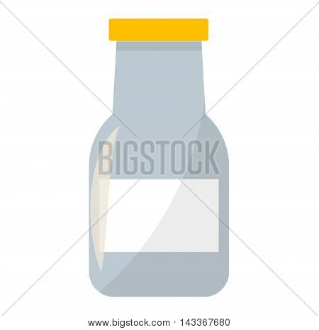 Traditional old fashioned glass milk bottle isolated on white. Healthy beverage milk bottle dairy drink glass. Food container health natural breakfast milk bottle nutritious ingredient vector.