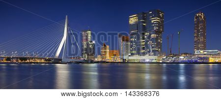 Rotterdam Panorama. Panoramic image of Rotterdam, Netherlands during twilight blue hour.