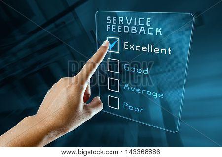 hand clicking online customer service feedback survey on virtual screen interface