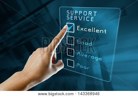 hand clicking online support service survey on virtual screen interface