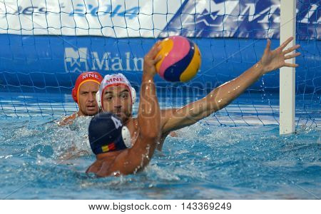 Budapest, Hungary - Jul 17, 2014. Montenegro defending against Romania. The Waterpolo European Championship was held in Alfred Hajos Swimming Centre in 2014.
