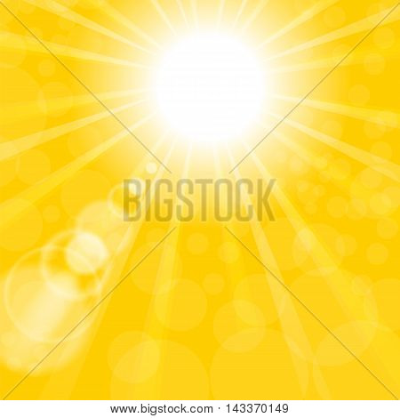 Abstract Sun Background. Yellow Summer Pattern. Bright Background with Sunshine. SunBurst with Flare and Lens.