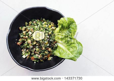 tabouleh traditional lebanese middle eastern fresh salad bowl meze mezze starter