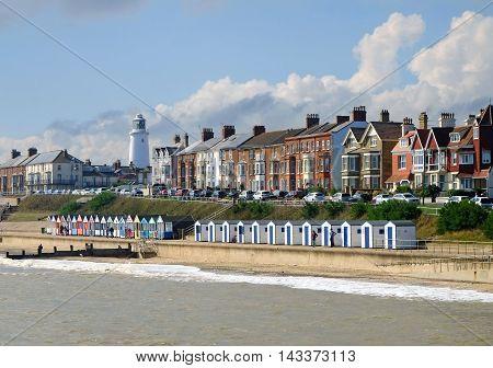 Southwold busy promenade, a popular Suffolk coast tourist destination
