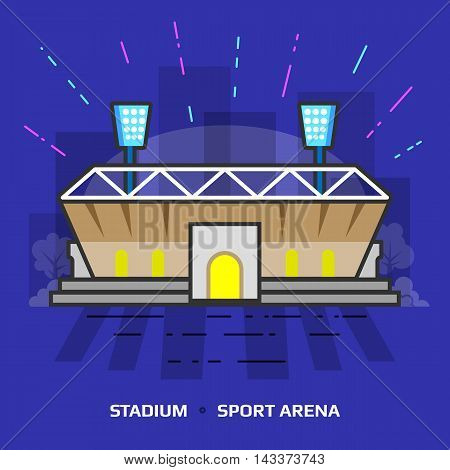 Flat illustration of stadium against blue background. Flat design of sport arena building, front view. Vector illustration about sport, tournament, game, sport venue, championship, sport facility, etc