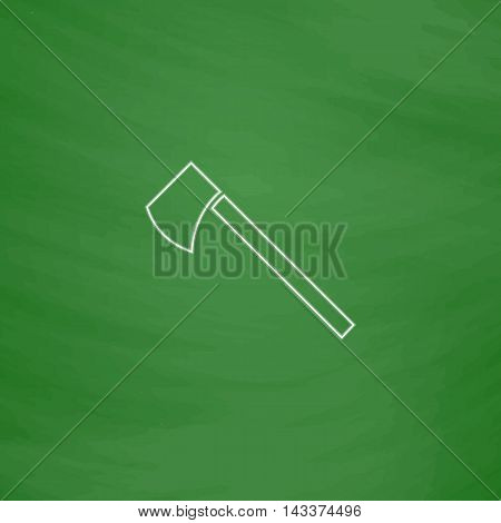 hatchet Outline vector icon. Imitation draw with white chalk on green chalkboard. Flat Pictogram and School board background. Illustration symbol
