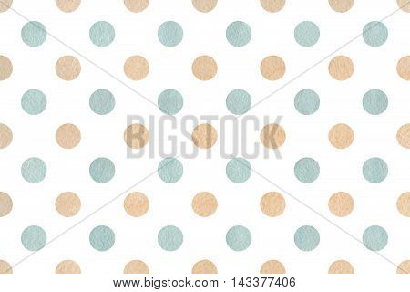 Watercolor Beige And Blue Polka Dot Background.