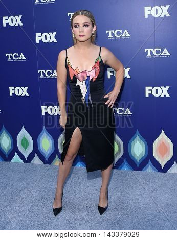 LOS ANGELES - AUG 08:  Billie Lourd arrives to the FOX Summer TCA Party 2016 on August 08, 2016 in West Hollywood, CA