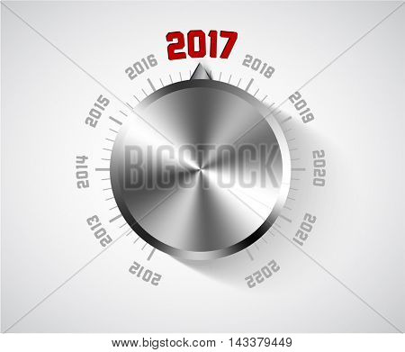 Vector 2017 New Year card for music lover with big volume chrome knob