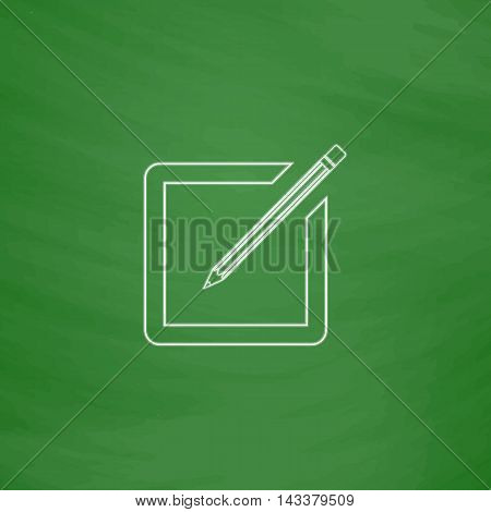 subscription Outline vector icon. Imitation draw with white chalk on green chalkboard. Flat Pictogram and School board background. Illustration symbol