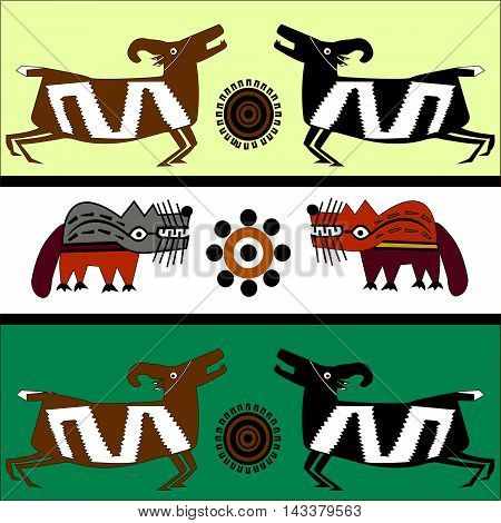 Ethnic pattern of American Indians: Aztecs, Mayans, Incas. Wolf and mountain goat or sheep. Drawing in the Mexican style. Vector illustration.