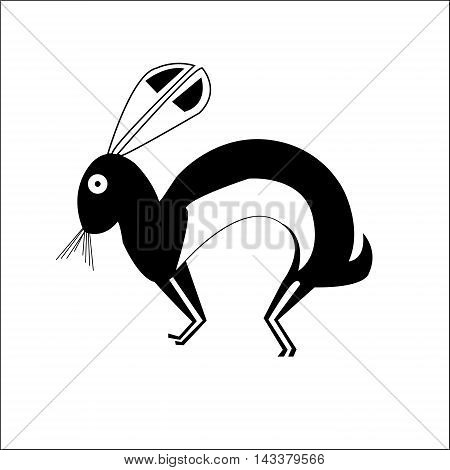 Hare. Ethnic pattern of American Indians: Aztecs, Mayans, Incas. drawing in the Mexican style. Vector illustration.