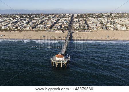 Manhattan Beach, California, USA - August 16, 2016:  Afternoon aerial view of Manhattan Beach Pier near Los Angeles, California.